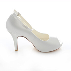 Dress Shoes 4 inch High Heeled With Ankle Strap Peep Toe Shoes Stilettos Ivory Platform Satin Wedding Shoes For Women Elegant