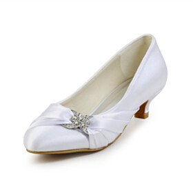 Kitten Heel Low Heel Pumps Dress Shoes Almond Toe Womens Shoes Satin Wedding Shoes For Women