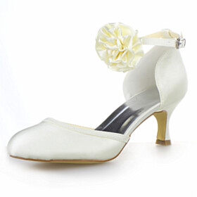 Dress Shoes Pumps Bridals Wedding Shoes Comfort Mid High Heeled Closed Toe Stilettos D orsay With Ankle Strap