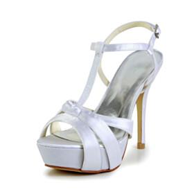 Bridal Shoes Platform Heel Peep Toe White Sandals 4 inch High Heel Ankle Strap