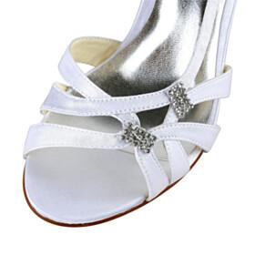 3 inch High Heeled Elegant White Sandals Wedding Shoes