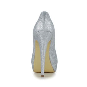 Silver Stiletto Open Toe Pumps Platform Glitter 5 inch High Heel Party Shoes Sparkly Slip On Bridals Wedding Shoes