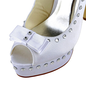 Stilettos Rhinestones Satin 13 cm High Heel Open Toe Formal Dress Shoes Elegant Pumps Bridal Shoes White Platform