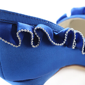 Pumps Beautiful 3 inch High Heel Royal Blue Round Toe Satin Dress Shoes With Ruffle