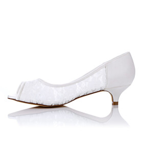 Peep Toe Formal Dress Shoes Beautiful White Low Heel Slip On Pumps Lace