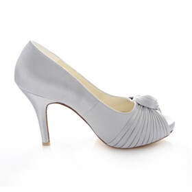 Elegant With Bowknot Wedding Shoes For Women Stiletto Gray Platform Heel High Heels Peep Toe Pumps Dress Shoes