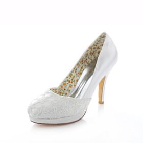 Shoes Platform Heel Elegant Dress Shoes Lace 10 cm High Heels Pumps Wedding Shoes For Bridal Ivory Slip On