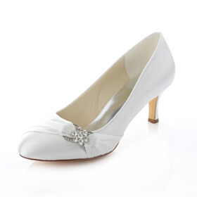6 cm Heel Satin Formal Dress Shoes Pointed Toe Stiletto Slip On Ivory Wedding Shoes For Bridal Pumps Womens Shoes