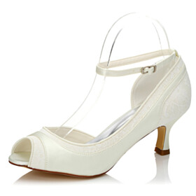 Pumps Lace Ivory Bridal Shoes Womens Shoes With Ankle Strap Peep Toe 6 cm Heeled