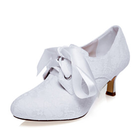 Bowknot Mid Heel Comfort Dress Shoes High Top White Lace Bridal Shoes Closed Toe