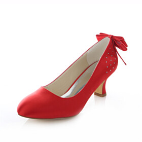 Slip On Red 2 inch Low Heel Almond Toe Pumps Satin Dress Shoes