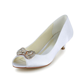 Peep Toe Kitten Heel Wedding Shoes For Women Rhinestones Slip On White Pumps Low Heeled Dress Shoes