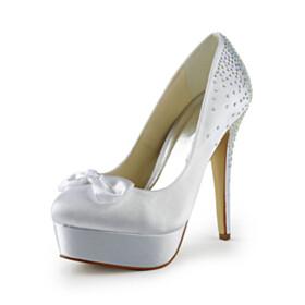 Platform Heel 5 inch High Heeled White Closed Toe Wedding Shoes For Bridal Pumps