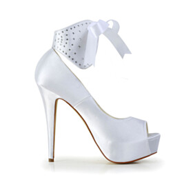 White Formal Dress Shoes 5 inch High Heel Lace Up High Tops Wedding Shoes For Women Open Toe Pumps