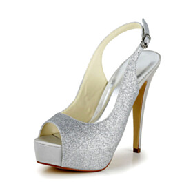 Pumps Silver Summer Stilettos Peep Toe High Heels Sequin Platform Womens Footwear