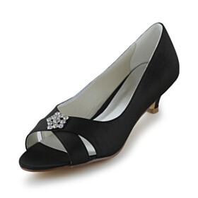 Elegant Pumps 4 cm Low Heel Kitten Heel With Rhinestones Open Toe
