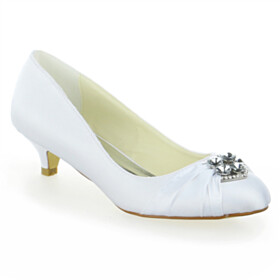 Low Heels Bridals Wedding Shoes Kitten Heel Shoes Almond Toe Slip On Crystal Pumps White Spring