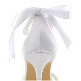 Lace Up Womens Sandals Strappy Wedding Shoes For Bridal Ankle Strap White Open Toe Formal Dress Shoes With Bowknot 3 inch High Heel