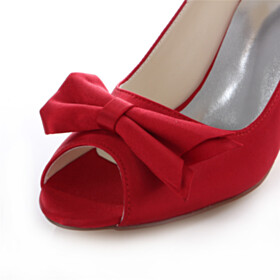 Pumps With Bowknot Red Peep Toe 3 inch High Heel Dress Shoes