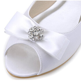 Shoes Rhinestones White Peep Toe Bridal Shoes Cute Flat Shoes