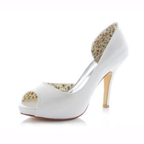 10 cm High Heels Ivory Stilettos Peep Toe Elegant Dress Shoes Bridals Wedding Shoes