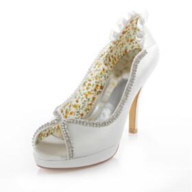 Peep Toe Rhinestones Pumps High Heel Wedding Shoes Dress Shoes