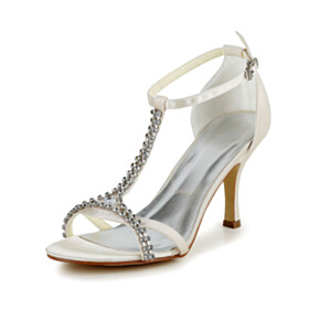 High Heel Formal Dress Shoes Ankle Strap Wedding Shoes For Women Champagne Strappy Womens Sandals