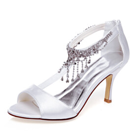Stiletto Sandals Fringe 8 cm High Heels With Ankle Strap Peep Toe Party Shoes Bridal Shoes With Rhinestones