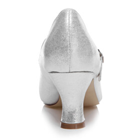 Cone Heel Sparkly Shoes Pointed Toe Pumps Wedding Shoes For Women With Ankle Strap Silver Comfortable 7 cm Mid Heels