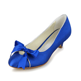 Dress Shoes Slip On Almond Toe Low Heel Shoes With Bowknot Pumps