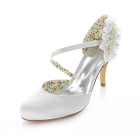 Slip On With Ankle Strap Satin Beautiful Sandals 3 inch High Heeled Dress Shoes White With Ruffle