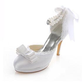 With Ankle Strap With Bowknot Sandals Stiletto Wedding Shoes For Bridal White 10 cm High Heel Round Toe Satin