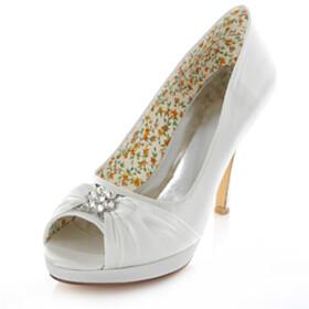 Bowknot Wedding Shoes For Women Open Toe Rhinestones Platform Heel 4 inch High Heel Pumps