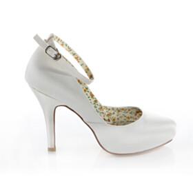 Elegant Platform Almond Toe Stiletto Pumps Dress Shoes Satin 2020 Bridal Shoes 4 inch High Heel