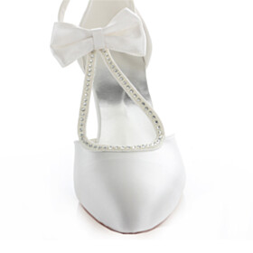 Sandals Ivory Formal Dress Shoes With Ankle Strap Mid High Heeled Satin Stiletto Elegant