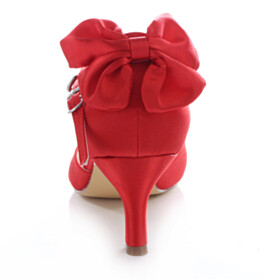 D orsay Buckle Stilettos Womens Shoes Ankle Strap Dress Shoes Beautiful Pumps 6 cm Mid Heel Red