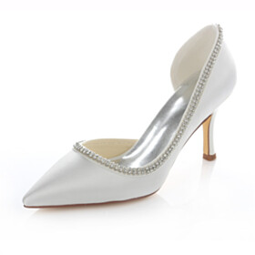 8 cm High Heel White Pointed Toe Wedding Shoes For Bridal Dress Shoes Satin Closed Toe Pumps Stilettos Womens Shoes