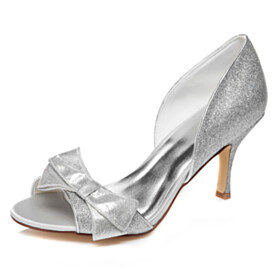 Bowknot Sequin Sandals Slip On Bridal Shoes Sparkly Silver Peep Toe High Heels Party Shoes