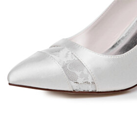 3 inch High Heel Dress Shoes Satin Wedding Shoes For Bridal White Womens Footwear