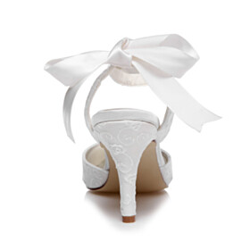 Wedding Shoes For Women Satin White With Bowknot High Heels With Ankle Strap Embroidered Pointed Toe Sandals For Women