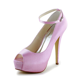 Stiletto Cute Ankle Strap Satin Pink Platform 5 inch High Heel Womens Shoes Wedding Shoes Peep Toe Pumps