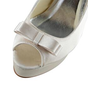 Bowknot Peep Toe 13 cm High Heels Dress Shoes Pumps Platform Stilettos Wedding Shoes For Bridal