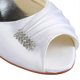 Beautiful Pumps Low Heels Dress Shoes With Rhinestones Slip On Peep Toe Wedding Shoes For Women Shoes Kitten Heel