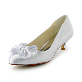 Wedding Shoes For Women 4 cm Low Heel Kitten Heel Bowknot White Cute Pumps