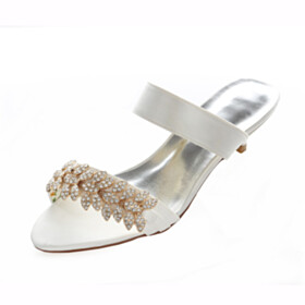 Wedding Shoes For Women Satin Kitten Heel Low Heels Peep Toe Cute Sandals