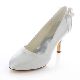 Dress Shoes Satin Pumps 9 cm High Heels Pointed Toe Bowknot Bridals Wedding Shoes Slip On