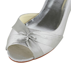 Dress Shoes With Bow Open Toe Wedding Shoes For Women Low Heel Pumps
