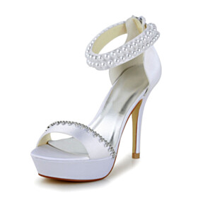 Beautiful 4 inch High Heel Sandals With Ankle Strap Wedding Shoes Satin Platform Peep Toe Strappy White