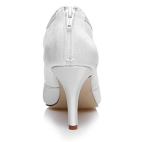 Shoes Closed Toe Bridal Shoes Fall 3 inch High Heel Pointed Toe White Lace Comfort Formal Dress Shoes