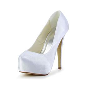 High Heel Round Toe Dress Shoes Platform White Pumps